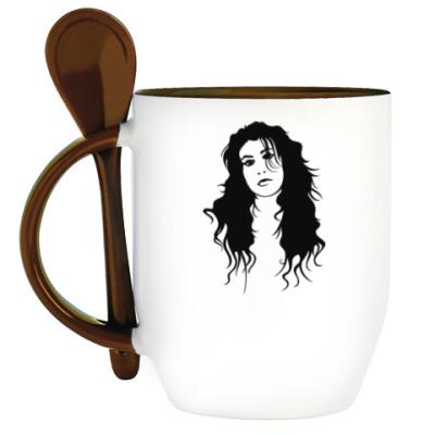Кружка с ложкой Amy Winehouse