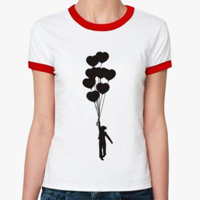 Женская футболка Ringer-T Девочка с шариками