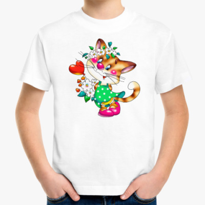 Детская футболка КИСКА С СЕРДЕЧКОМ