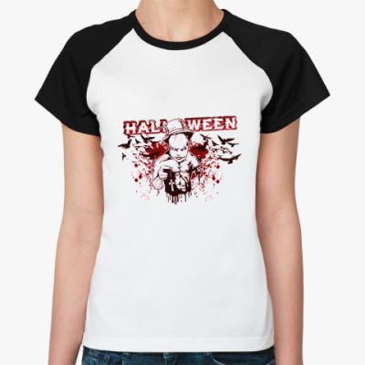 Женская футболка реглан Bloody Halloween РеглЖ()
