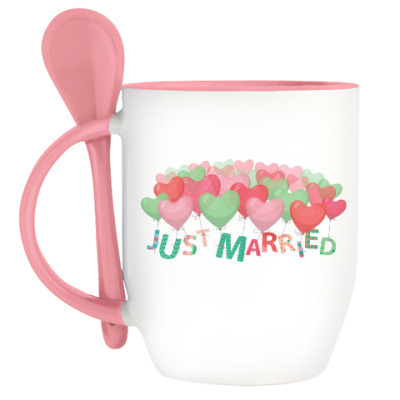 Кружка с ложкой Just married / Женатики