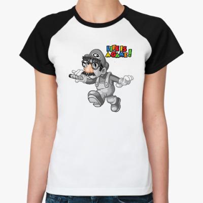 Женская футболка реглан Марио - жизнь игра