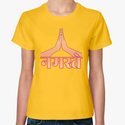 Женская футболка Намасте на санскрите и мудра