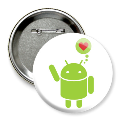 Значок 75мм Love Android