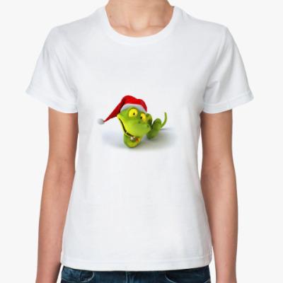 Классическая футболка зеленая змея