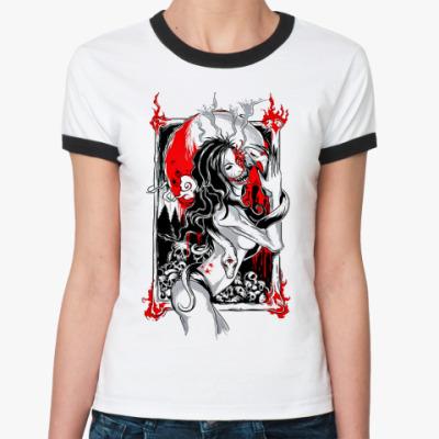 Женская футболка Ringer-T Огонь в ночи