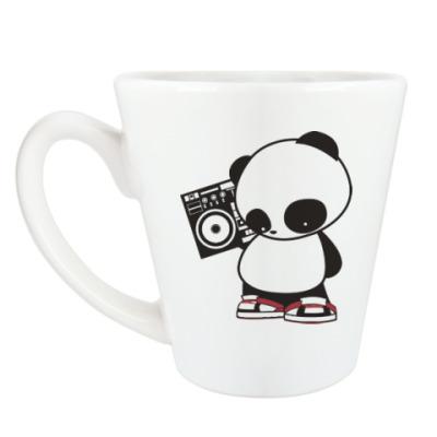 Чашка Латте Панда с магнитофоном