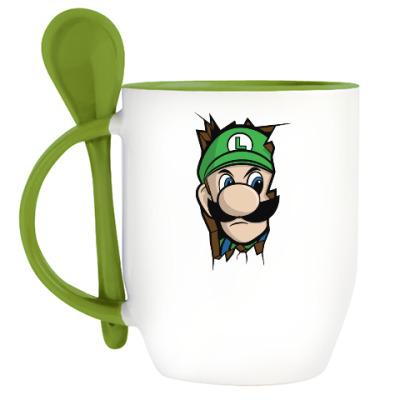 Кружка с ложкой Луиджи Марио