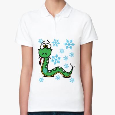Женская рубашка поло Новогодняя змея