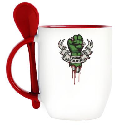 Кружка с ложкой Революция Зомби