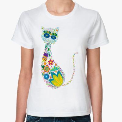 Классическая футболка   Цветная кошка