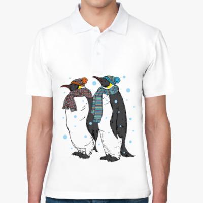 Рубашка поло Новогодние пингвины в шапках