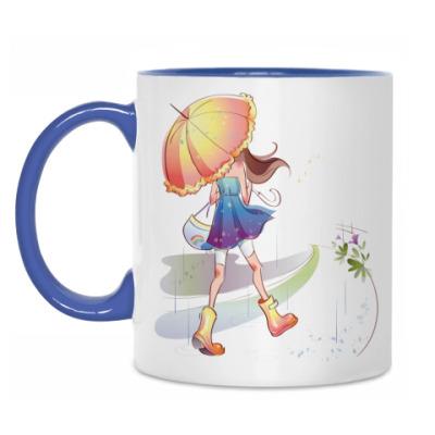 Кружка 'Девушка с зонтом'