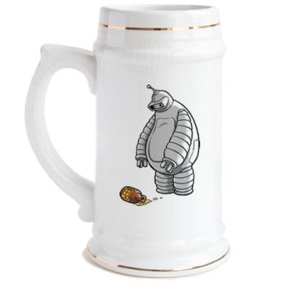 Пивная кружка Робот и пиво