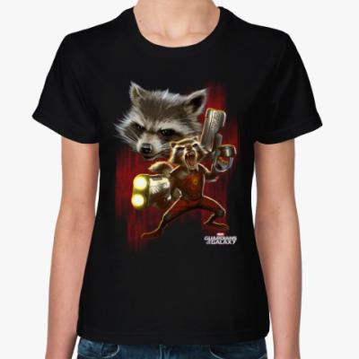Женская футболка Реактивный Енот