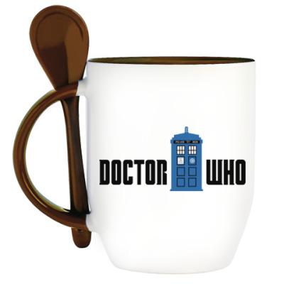 Кружка с ложкой TARDIS