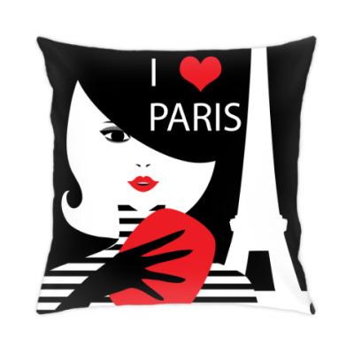 Подушка Француженка, фэшн иллюстрация. Я люблю Париж