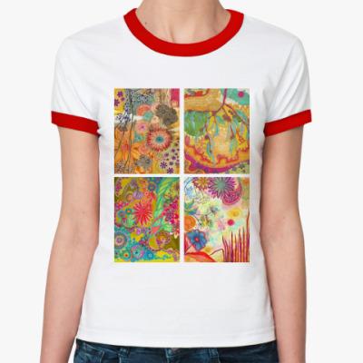 Женская футболка Ringer-T коллаж