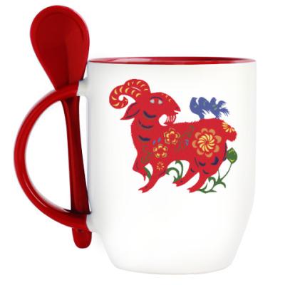 Кружка с ложкой Баран с цветами и птицами