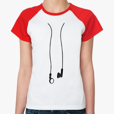 Женская футболка реглан наушники