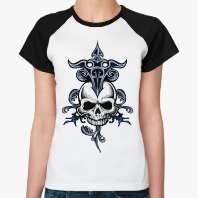 Женская футболка реглан Череп