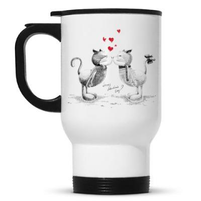 Кружка-термос Кот и кошка
