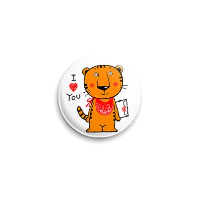 Значок 25мм  Влюблённый Тигр