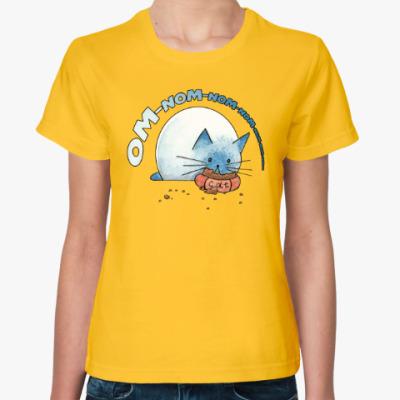 Женская футболка Ом-ном-ном-ном кот