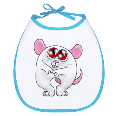 Слюнявчик Мышь Белая