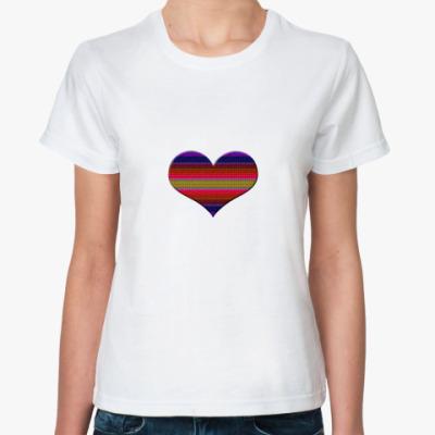 Классическая футболка Сердце в полоску