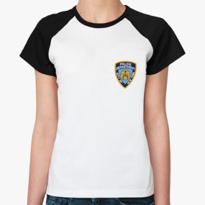 Женская футболка реглан  NYPD