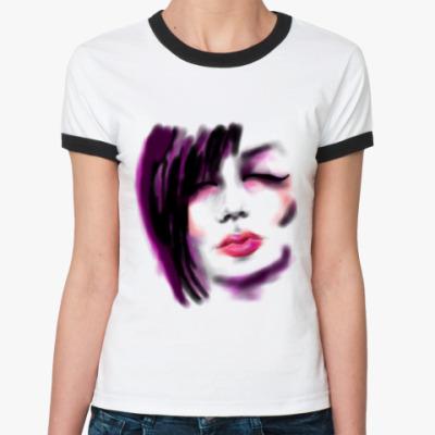 Женская футболка Ringer-T 'Эмо-Глам'
