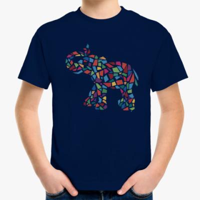 Детская футболка Слон - мозаика