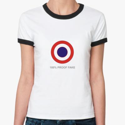 Женская футболка Ringer-T 100% Proof Fake