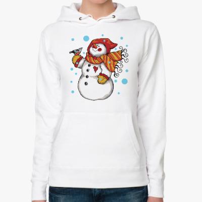 Женская толстовка худи Снеговик и снегирь