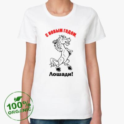 Женская футболка из органик-хлопка C Новогодним праздником!