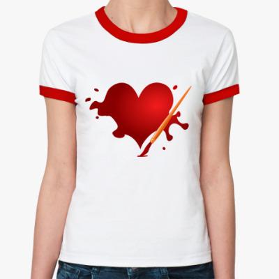 Женская футболка Ringer-T Сердце и кисть
