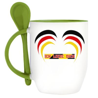 Кружка с ложкой Я люблю тебя по-немецки