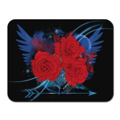Коврик для мыши Красные розы и крылья. Рок