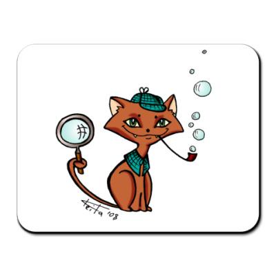 Коврик для мыши Котик-детектив