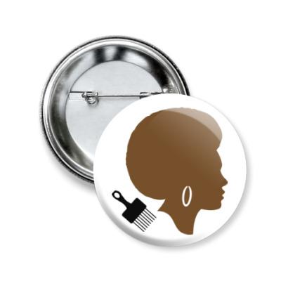 Значок 50мм Afro Lady
