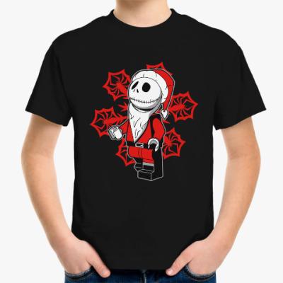 Детская футболка Санта скелет