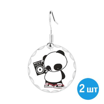 Серьги Панда с магнитофоном