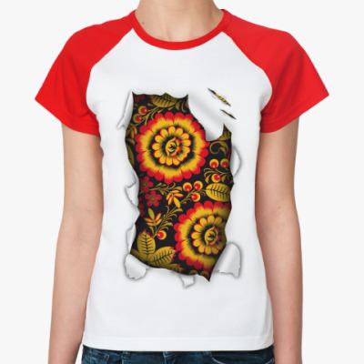 Женская футболка реглан  'Национальный узор'