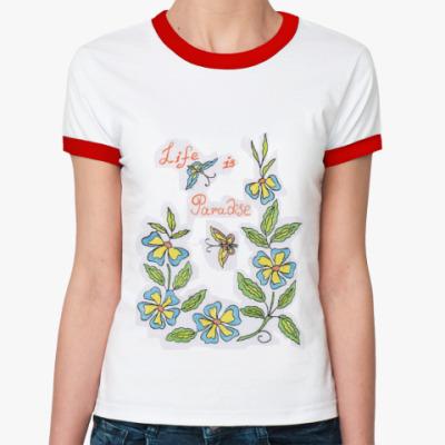 Женская футболка Ringer-T  'Цветочная'