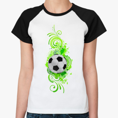Женская футболка реглан Футбольный мяч