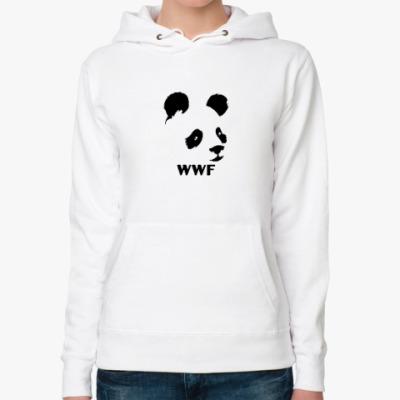 Женская толстовка худи WWF. Альтер - Панда с лого