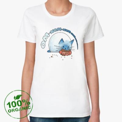Женская футболка из органик-хлопка Ом-ном-ном-ном кот