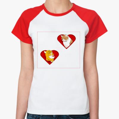 Женская футболка реглан Любовь и кошки