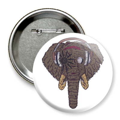 Значок 75мм Слон в наушниках